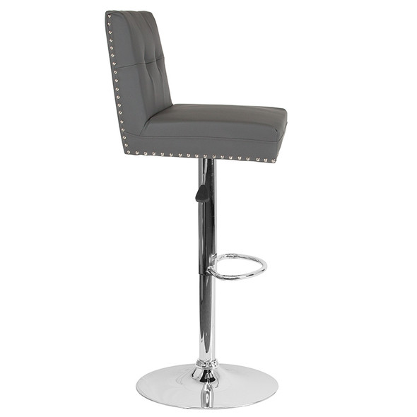 Ravello Contemporary Adjustable Height Barstool with Accent Nail Trim in Gray Leather