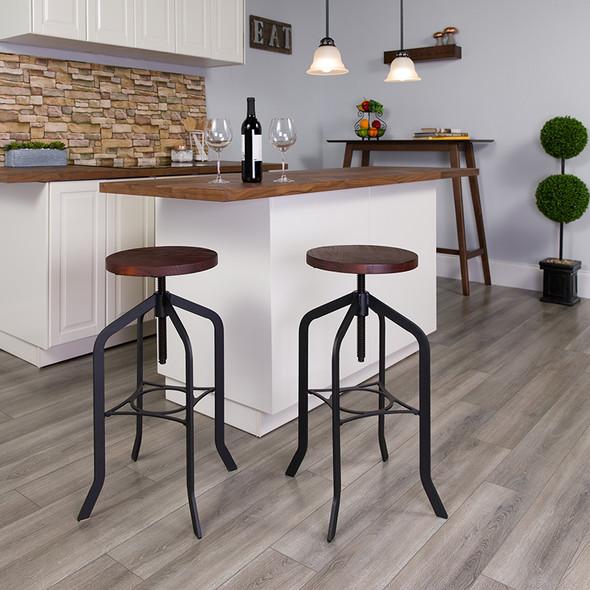 30'' Barstool with Swivel Lift Wood Seat