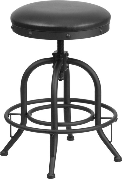 24'' Counter Height Stool with Swivel Lift Black Leather Seat