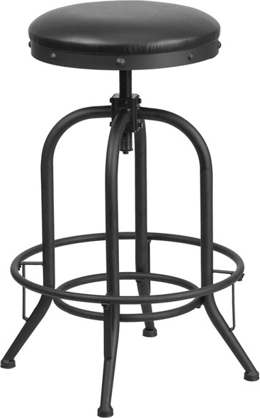 30'' Barstool with Swivel Lift Black Leather Seat