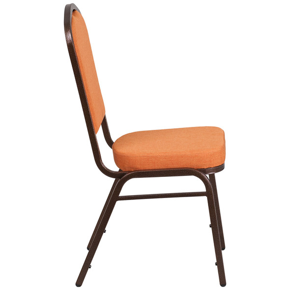 TYCOON Series Crown Back Stacking Banquet Chair in Orange Fabric - Copper Vein Frame