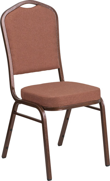 TYCOON Series Crown Back Stacking Banquet Chair in Brown Fabric - Copper Vein Frame