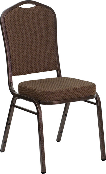 TYCOON Series Crown Back Stacking Banquet Chair in Brown Patterned Fabric - Copper Vein Frame