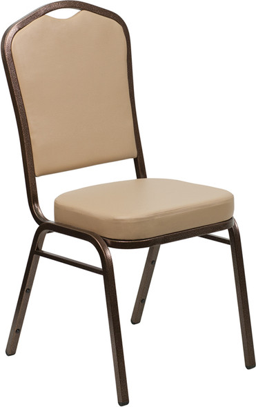 TYCOON Series Crown Back Stacking Banquet Chair in Tan Vinyl - Copper Vein Frame