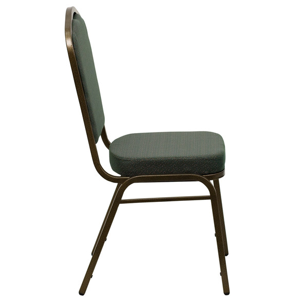 TYCOON Series Crown Back Stacking Banquet Chair in Green Patterned Fabric - Gold Vein Frame