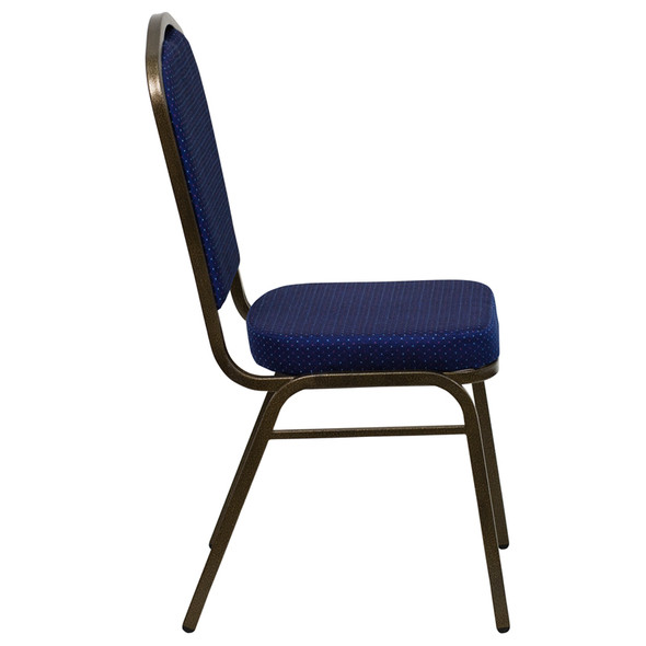 TYCOON Series Crown Back Stacking Banquet Chair in Navy Blue Patterned Fabric - Gold Vein Frame