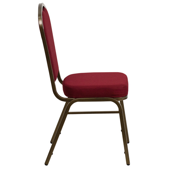 TYCOON Series Crown Back Stacking Banquet Chair in Burgundy Fabric - Gold Vein Frame