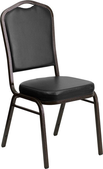 TYCOON Series Crown Back Stacking Banquet Chair in Black Vinyl - Gold Vein Frame