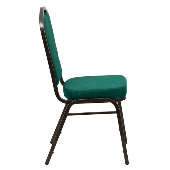 TYCOON Series Crown Back Stacking Banquet Chair in Green Fabric - Gold Vein Frame