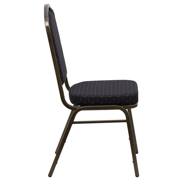 TYCOON Series Crown Back Stacking Banquet Chair in Black Patterned Fabric - Gold Vein Frame