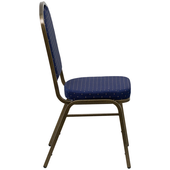 TYCOON Series Crown Back Stacking Banquet Chair in Navy Blue Dot Patterned Fabric - Gold Vein Frame