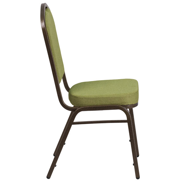TYCOON Series Crown Back Stacking Banquet Chair in Moss Fabric - Gold Vein Frame