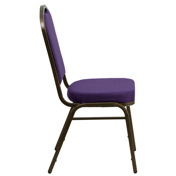 TYCOON Series Crown Back Stacking Banquet Chair in Purple Fabric - Gold Vein Frame