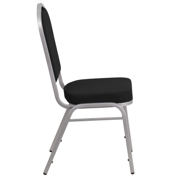 TYCOON Series Crown Back Stacking Banquet Chair in Black Fabric - Silver Frame