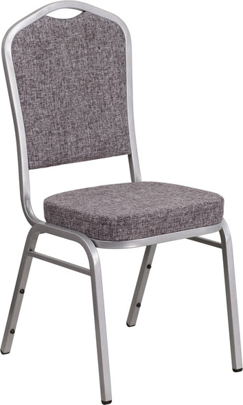 TYCOON Series Crown Back Stacking Banquet Chair in Herringbone Fabric - Silver Frame