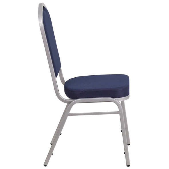 TYCOON Series Crown Back Stacking Banquet Chair in Navy Fabric - Silver Frame