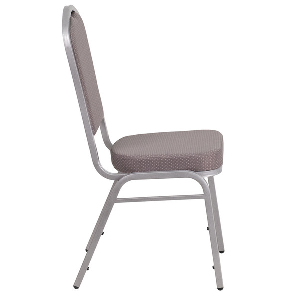 TYCOON Series Crown Back Stacking Banquet Chair in Gray Dot Fabric - Silver Frame
