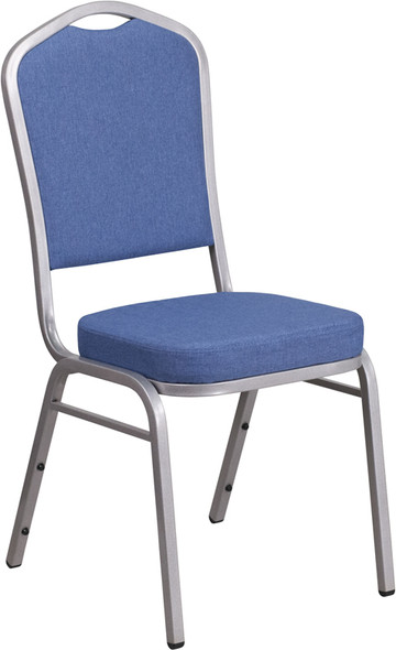 TYCOON Series Crown Back Stacking Banquet Chair in Blue Fabric - Silver Frame
