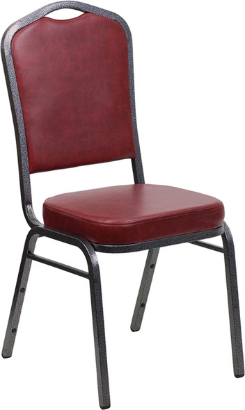 TYCOON Series Crown Back Stacking Banquet Chair in Burgundy Vinyl - Silver Vein Frame