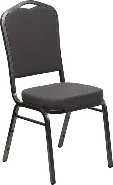 TYCOON Series Crown Back Stacking Banquet Chair in Gray Fabric - Silver Vein Frame