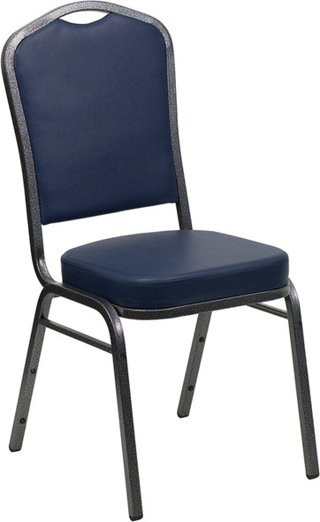 TYCOON Series Crown Back Stacking Banquet Chair in Navy Vinyl - Silver Vein Frame