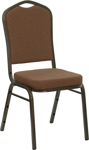 TYCOON Series Crown Back Stacking Banquet Chair in Coffee Fabric - Gold Vein Frame