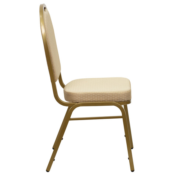 TYCOON Series Dome Back Stacking Banquet Chair in Beige Patterned Fabric - Gold Frame