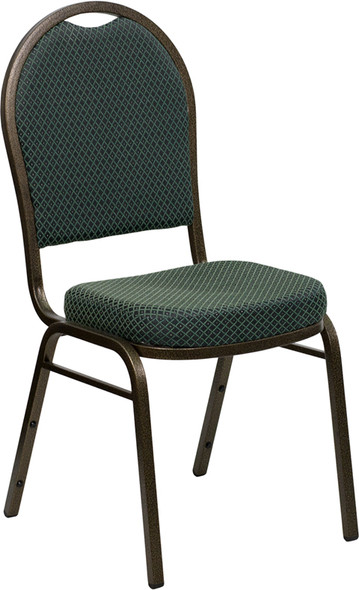 TYCOON Series Dome Back Stacking Banquet Chair in Green Patterned Fabric - Gold Vein Frame
