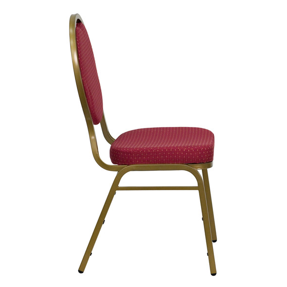 TYCOON Series Teardrop Back Stacking Banquet Chair in Burgundy Patterned Fabric - Gold Frame