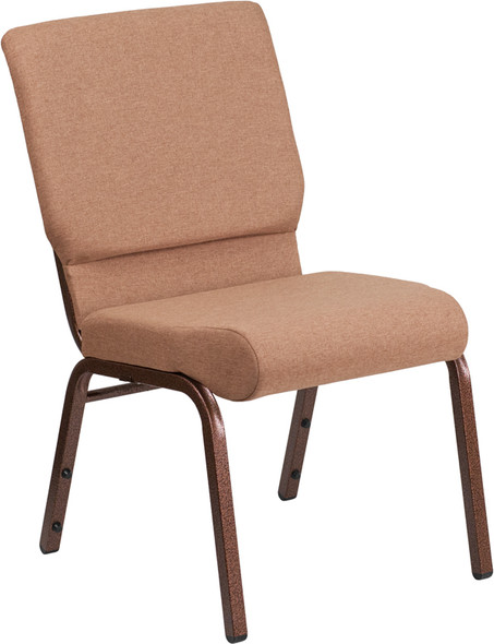 TYCOON Series 18.5''W Stacking Church Chair in Caramel Fabric - Copper Vein Frame