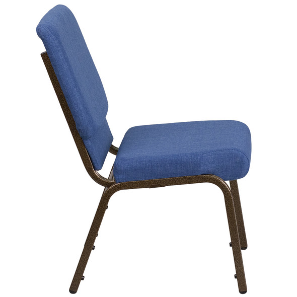 TYCOON Series 18.5''W Stacking Church Chair in Blue Fabric - Gold Vein Frame