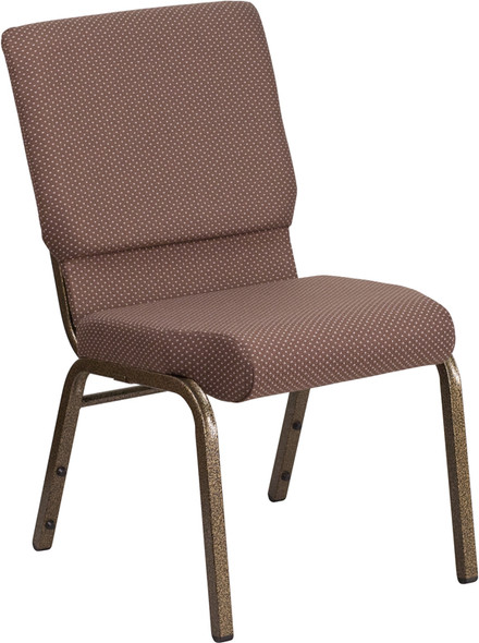 TYCOON Series 18.5''W Stacking Church Chair in Brown Dot Fabric - Gold Vein Frame