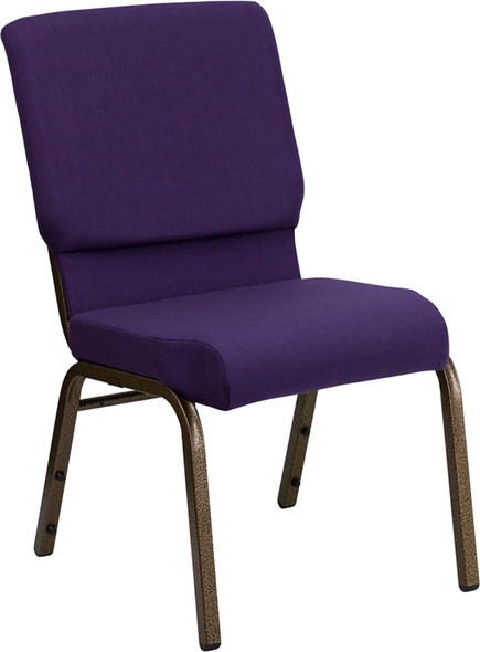 TYCOON Series 18.5''W Stacking Church Chair in Royal Purple Fabric - Gold Vein Frame