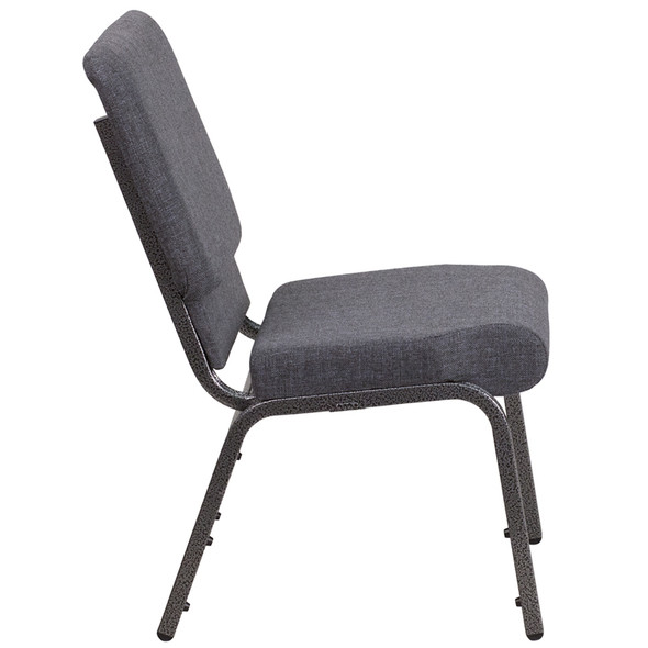 TYCOON Series 18.5''W Stacking Church Chair in Dark Gray Fabric - Silver Vein Frame