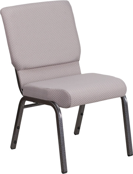 TYCOON Series 18.5''W Stacking Church Chair in Gray Dot Fabric - Silver Vein Frame