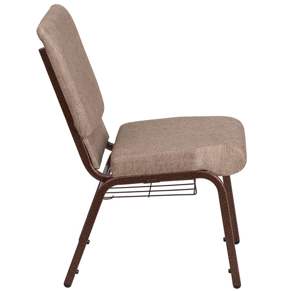 TYCOON Series 18.5''W Church Chair in Beige Fabric with Book Rack - Copper Vein Frame
