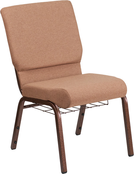 TYCOON Series 18.5''W Church Chair in Caramel Fabric with Cup Book Rack - Copper Vein Frame
