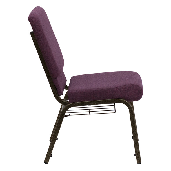 TYCOON Series 18.5''W Church Chair in Plum Fabric with Cup Book Rack - Gold Vein Frame