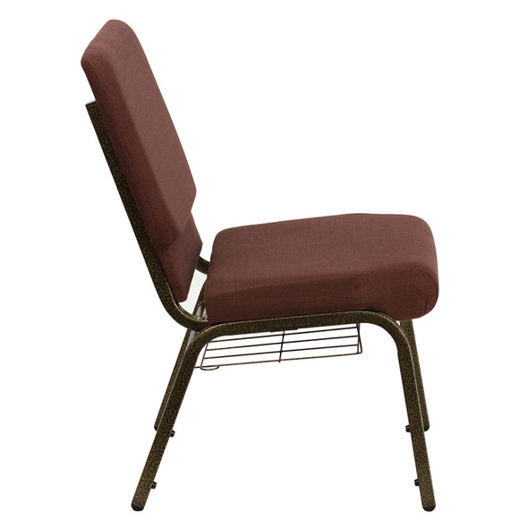 TYCOON Series 18.5''W Church Chair in Brown Fabric with Cup Book Rack - Gold Vein Frame