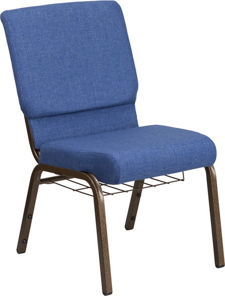 TYCOON Series 18.5''W Church Chair in Blue Fabric with Cup Book Rack - Gold Vein Frame