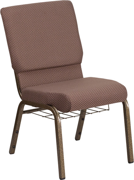 TYCOON Series 18.5''W Church Chair in Brown Dot Fabric with Book Rack - Gold Vein Frame