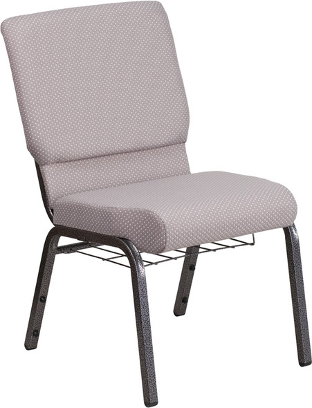 TYCOON Series 18.5''W Church Chair in Gray Dot Fabric with Book Rack - Silver Vein Frame