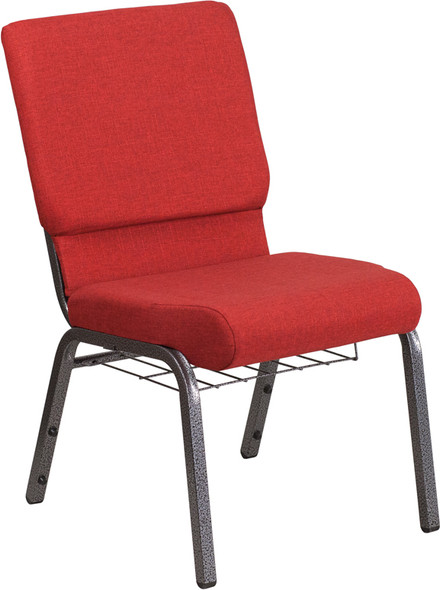 TYCOON Series 18.5''W Church Chair in Red Fabric with Cup Book Rack - Silver Vein Frame