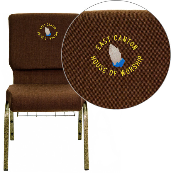 Embroidered TYCOON Series 18.5''W Church Chair in Brown Fabric with Cup Book Rack - Gold Vein Frame