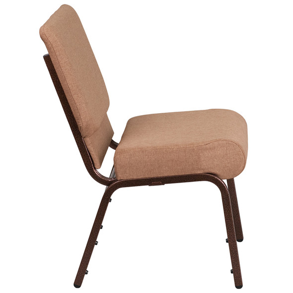 TYCOON Series 21''W Stacking Church Chair in Caramel Fabric - Copper Vein Frame
