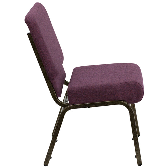 TYCOON Series 21''W Stacking Church Chair in Plum Fabric - Gold Vein Frame