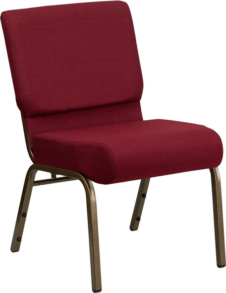TYCOON Series 21''W Stacking Church Chair in Burgundy Fabric - Gold Vein Frame