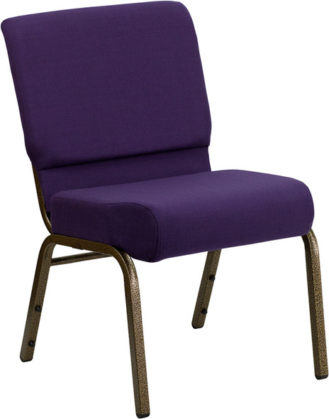 TYCOON Series 21''W Stacking Church Chair in Royal Purple Fabric - Gold Vein Frame