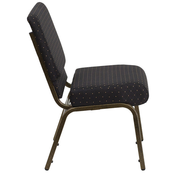 TYCOON Series 21''W Stacking Church Chair in Black Dot Patterned Fabric - Gold Vein Frame