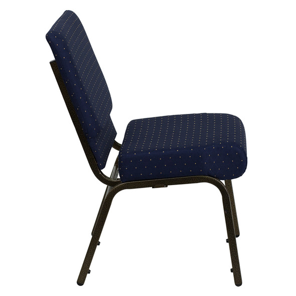 TYCOON Series 21''W Stacking Church Chair in Navy Blue Dot Patterned Fabric - Gold Vein Frame